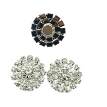 3 Flat Back Clear Rhinestone Cluster Lg Center Buttons 20mm No Shank