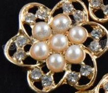 3 Flat Back Pearl & Rhinestone Buttons in a Gold Alloy Setting Lg Center Buttons 20mm No Shank