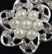3 Flat Back Pearl & Rhinestone Buttons in a Silver Alloy Setting Lg Center Buttons 20mm No Shank