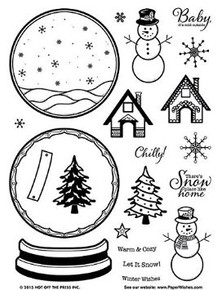 Hot Off the Press Snow Globe Clear Silicone Stamp Set 21pc HOTP1196