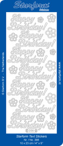 Starform Large HAPPY BIRTHDAY Silver 398 Outline Peel Sticker