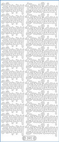 Starform N390 TRANSPARENT GLITTER GOLD HAPPY BIRTHDAY Outline Peel Sticker