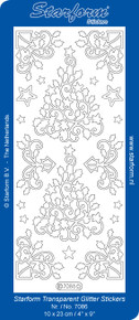 Starform Transparent Glitter Gold 7086 Filigree Christmas Trees Stickers Peel Outline