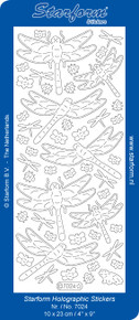 Starform Dragonfly Transparent Glitter Silver 7024 Peel Stickers
