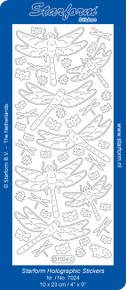 Starform Dragonfly Transparent Glitter Silver 7024 Peel Stickers