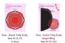 Cheery Lynn Designs DL126 & DL126A Dutch Tulip Lace Doily & Angel Wing 2pc