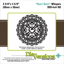 Die-Versions Whispers Heart Burst Scrapbooking Die Cuts DVS-4X4-100