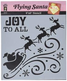 HOTP Stencils 6X6 Flying Santa Silhouette