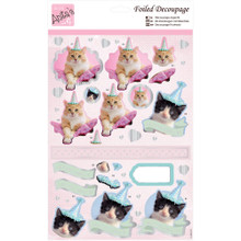 Anita's Foiled & Die-Cut Decoupage 3-D Papier Tole --  Party Kittens 169654 CATS