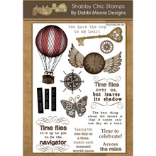 Debbi Moore Designs Shabby Chic Clear A5 Stamp Set, Time Flies DMNS004