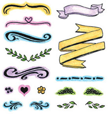 Inky Antics Artful Devotions- BANNERS BRACKETS & BORDERS Clear Stamp Set - for Bible Journaling & More!
