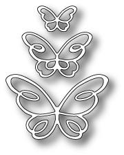 Poppystamps 100% Steel Die Devyn Butterfly Trio 1378