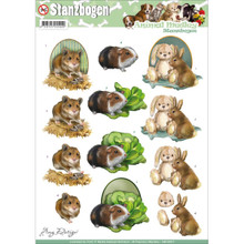 Amy Design Punchout Sheet, Animal Medley Fluffy Animals SB10027