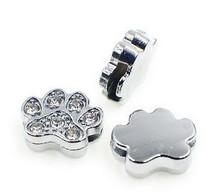 Rhinestone Ribbon Slider Charm Paw Print Silver Circle 4pc C2011 Dog Cat