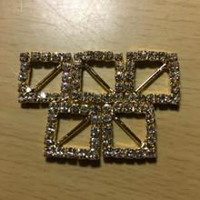 Rhinestone Ribbon Slider Charm 18 Stone Gold Diamond-Shape 5pc C2021