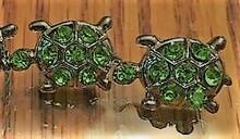Rhinestone Ribbon Slider Charm TURTLE Green on Silver 5pc C2035