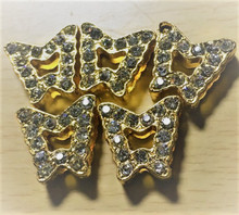 Rhinestone Ribbon Slider Charm Butterfly Gold 5pc C2015