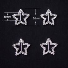 Rhinestone Ribbon Slider Star Silver 5pc C2039