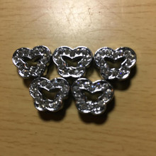 Rhinestone Ribbon Slider Charm 14 Stone Silver Rounded Butterfly-Shape 5pc C2020