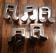 Silver Ribbon Slider Charm Musical Notes - Shape 5pc C2033