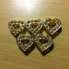 Rhinestone Ribbon Slider Charm Heart w/11 Stones & Heart Center Gold  5pc C2017