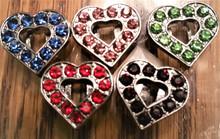 Rhinestone Ribbon Slider Charm Heart w Colored Stones & Heart Center Gold  5pc C2017