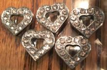 Rhinestone Ribbon Slider Charm Heart w/11 Stones & Heart Center Silver  5pc C2028