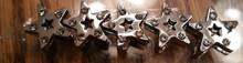 Rhinestone Ribbon Slider Charm Star Silver 5pc C2027
