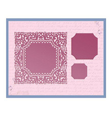 Ultimate Crafts Square Magnolia Impression Die, Metal, Black