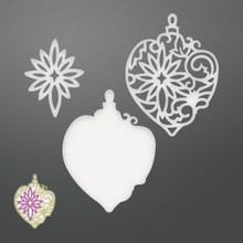 Couture Creations Be Merry Die-Damask Layered Baubles, 1.2' To 2.4'