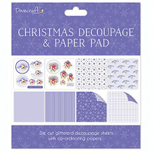 Dovecraft Christmas Decoupage & Paper Pad - Brown Bear - Card or Scrapbooking Kit
