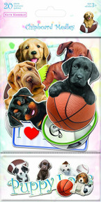 Sandylion Kimberlin Puppies Chipboard Medley Stickers with Clear Varnish