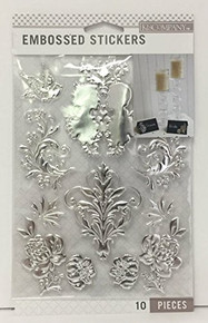 K&Company Silver Foil Wedding Embossed Stickers