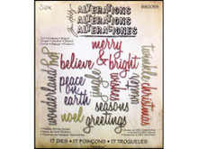 Sizzix Thinlits Holiday Words Script 17 Cutting Dies by Tim Holtz Alterations