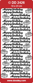 Doodey DD2426 Happy Birthday and Gifts Black Peel Stickers One 9x4 Sheet