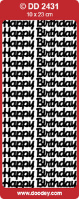 Doodey DD2431 Happy Birthday -  LARGE SILVER Peel Stickers One 9x4 Sheet