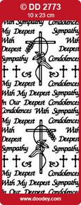 DOODEY DD2773 BLACK Sympathy Peel Stickers One 9x4 Sheet