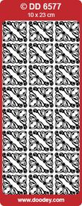 DOODEY DD6577 BLACK REGENCY Corners Peel Stickers One 9x4 Sheet