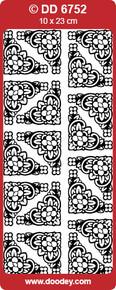 DOODEY DD6752 GOLD TUTOR Corners Large Peel Stickers One 9x4 Sheet