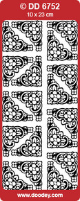 DOODEY DD6752 WHITE TUTOR Corners Large Peel Stickers One 9x4 Sheet