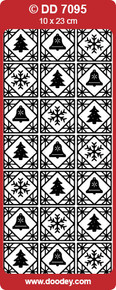 DOODEY DD7095 GOLD CHRISTMAS SQUARES Peel Stickers One 9x4 Sheet