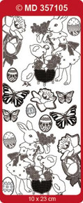 Doodey MD357105 GOLD Double Embossed Etched EASTER Stickers One 9x4 Sheet