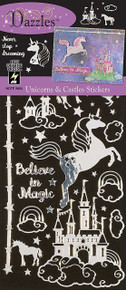 Hot Off The Press Dazzles Stickers-Unicorns & Castles, Silver