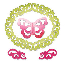 Sizzix Thinlits Dies, Butterfly, Flourishes and Frame, 4-Pack