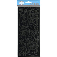 Elizabeth Craft Designs Snowman in Frame Peel-Off Stickers, Black