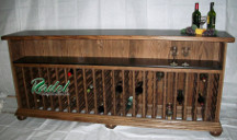 Red Oak Wine Serving Bar with wine rack