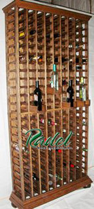 Solid Oak 207-Bottle Wall Unit Wine Rack