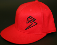 Flat Bill Red Outline B hats SKU # 0208-0601