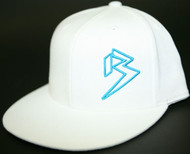 Flat Bill White with outline B hats (CLICK FOR COLOR OPTIONS) SKU # 0208-02
