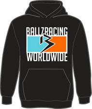 BALLZ RACING WORLDWIDE 100% Polyester Hoodie- BLACK/AQUA/ORANGE